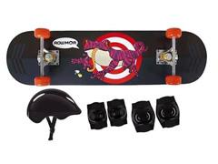 Kit Skate Infantil MOR Sapo com Acessórios de Segurança