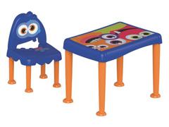 Conjunto de Mesa e Cadeira Tramontina Monster Kids Azul
