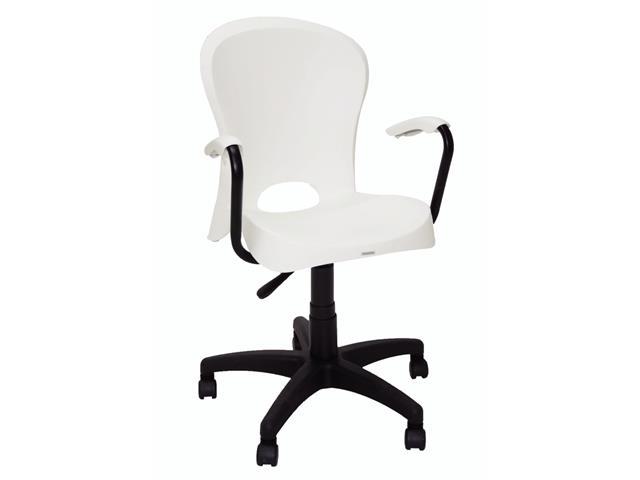Cadeira com Braço e Rodizio Tramontina Jolie Branca