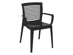 Cadeira/ Poltrona com Braço Tramontina Victoria Encosto Vazado Preta