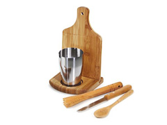 Kit para Caipirinha com Copo Inox Welf Bambu 6 peças - 2