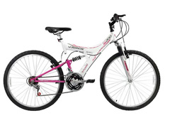 Bicicleta Aro 26 Track Bikes MTB 200 Full 18 V Branco/Magenta