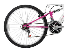 Bicicleta Aro 26 Track Bikes MTB 200 Full 18 V Branco/Magenta - 1