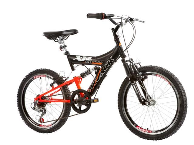 Bicicleta Aro 20 Juvenil Track Bikes XR 20 Full 6 V Preto/ Laranja