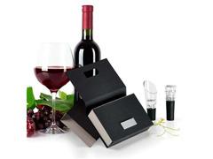 Acessórios Para Vinho Com Caixa Em Papelão Rígido Preto 2Pçs - 7