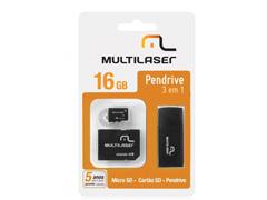 Pen Drive Multilaser 3 em 1 16GB