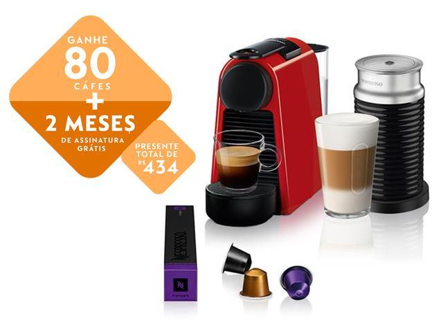 Kit Nespresso Essenza Mini Red + Aeroccino 3 com Kit Boas Vindas