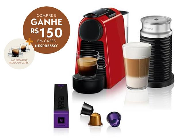 Kit Nespresso Essenza Mini Red + Aeroccino 3 com Kit Boas Vindas