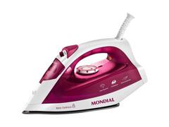 Ferro de Passar a Vapor e a Seco Mondial Branco e Pink 1200W - 1