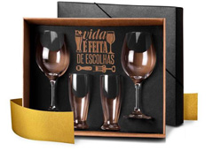 Jogo De Copos De Vidro Para Vinho E Cerveja - 4 Peças