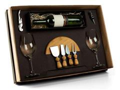 Kit Queijo e Vinho com Espaço para Garrafa Welf 9 Peças