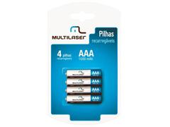 Pilhas Recarregáveis AAA Multilaser 1000mAH com 4 Unidades
