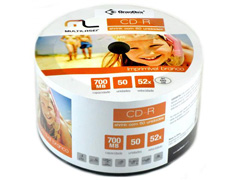 Midia CD-R Multilaser Vel. 52X 50 Un. Shrink Imprimivel Branco CD052
