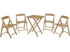 Conjunto de Mesa com Cadeiras Tramontina Beer Teca 5 Peças - 0