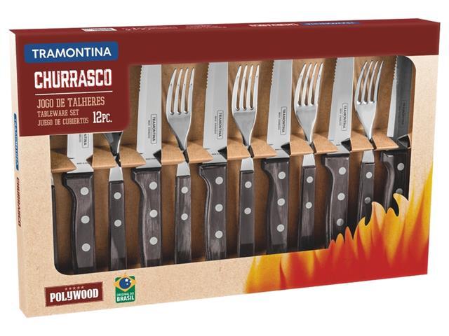 Conjunto para Churrasco Tramontina Polywood Castanho - 12 Peças