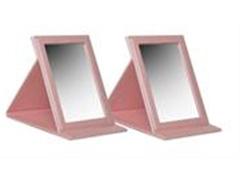 Kit com Espelhos Rosa em Couro - 2 Unidades