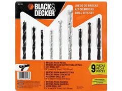 Jogo de Brocas para Concreto, Madeira e Metal Black & Decker 9 Peças