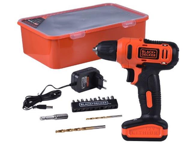 Parafusadeira e Furadeira Black & Decker Bateria 12V com 13 Acessórios