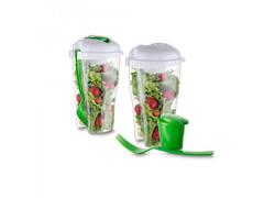 Copo para Salada 800ml com Garfo e Molheiro Sortido - 2