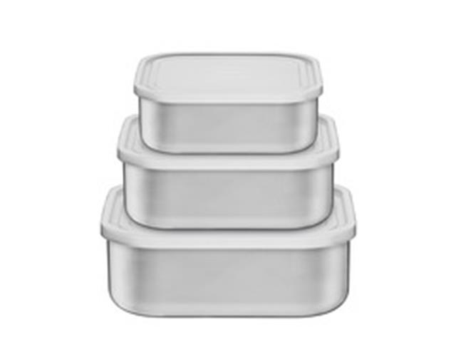 Conjunto de Potes Tramontina Quadrado Freezinox Aço Inox 3 Peças