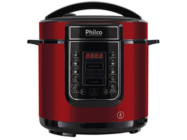 Panela de Pressão Digital Philco Inox Vermelha 6 Litros 1000W