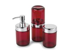 Acessórios para Lavabo Acquaset Vermelho 3 Peças