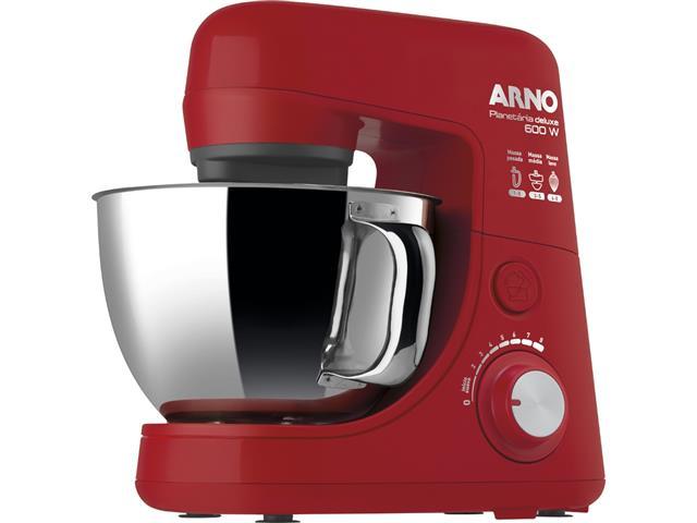 Batedeira Planetária Arno Deluxe 8 Velocidades Inox Vermelha 110V