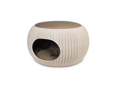 Cama Puff Curver Cozy Pet Knit Sandy com Almofada