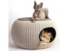 Cama Puff Curver Cozy Pet Knit Sandy com Almofada - 1