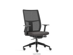 Cadeira Time Presidente Assento Cinza Rodízio Carpete - 0