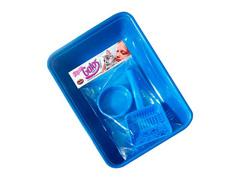 Kit Caixa de Areia Furacão Pet Azul 3 Peças