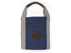 Bolsa de Viagem Azul Marinho com Detalhes em Couro - 1