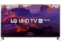 "Smart TV LED 75"" LG UHD 4K ThinQ AI TV HDR Ativo webOS 4.5 4 HDMI 2USB"