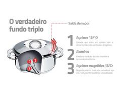 Espagueteira Tramotina Fundo Triplo Solar Aço Inox Ø 24cm - 1