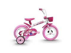 Bicicleta Infantil Track Bikes Arco Íris Aro 12 Branco e Rosa - 1