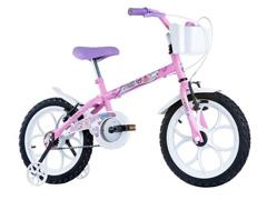 Bicicleta Infantil Track Bikes Pinky Aro 16 Rosa e Branco