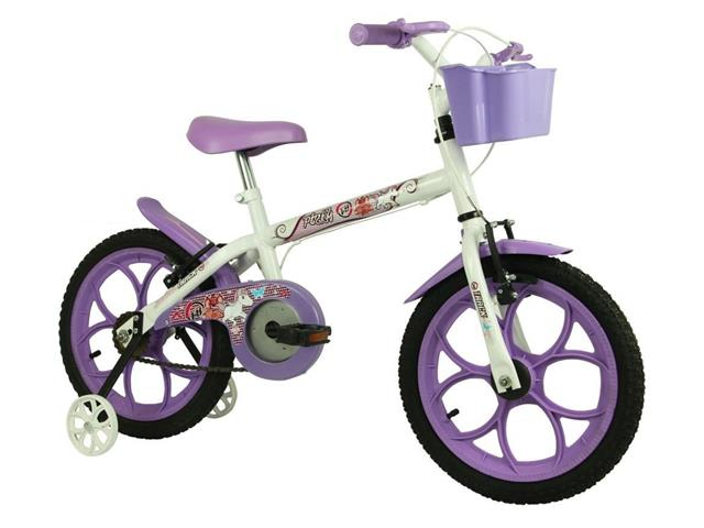 Bicicleta Infantil Track Bikes Pinky Aro 16 Branco e Lilás