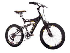 Bicicleta Track Bikes XR20 Full Aro 20 Preto e Amarelo
