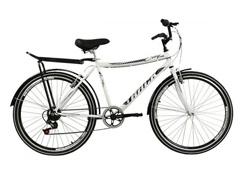 Bicicleta Track Bikes City URB 7V Urbana com Bagageiro Aro 26 Branca