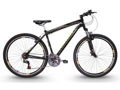 Bicicleta Track Bikes Black Mountain 21V Aro 29 Preto e Amarelo