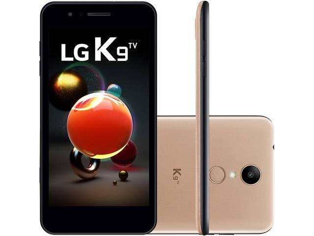 """Smartphone LG K9 TV Digital Duos Tela 5"""" 16GB 4G Câmera 8MP Dourado"""