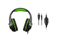 Headset Gamer Warrior Rama P3 + USB Stereo Adaptador P2 LED Verde - 3