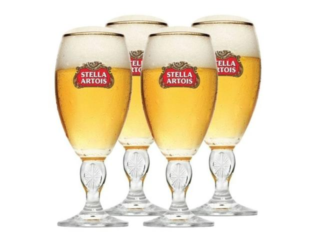 Jogo de Taças de Vidro para Cerveja Stella Artois 4 Unidades de 250ML