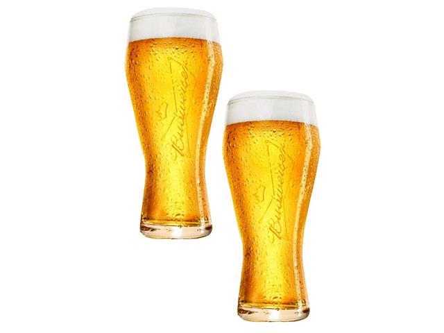 Jogo de Copos de Vidro para Cerveja Budweiser 2 Unidades de 400ml