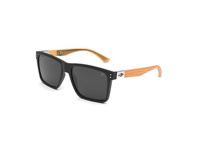 Óculos de Sol Mormaii Cairo Preto Fosco Madeira Lente Cinza Polarizada