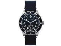 Relógio Nautica Masculino Couro Preto NAPHST002