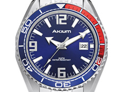 Relógio Akium Masculino Aço G7082 SS VD53 BLUE - 1
