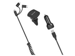 Carregador Veicular 3em1 Multilaser USB+TypeC IPhone Suporte Magnético - 2