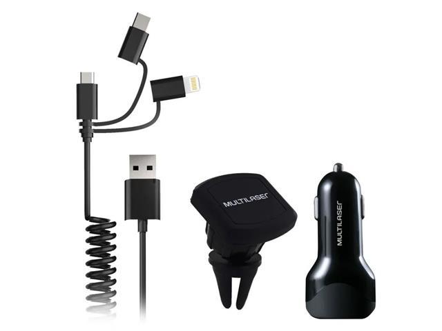 Carregador Veicular 3em1 Multilaser USB+TypeC IPhone Suporte Magnético