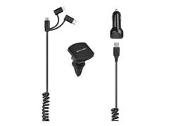 Carregador Veicular 3em1 Multilaser USB+TypeC IPhone Suporte Magnético - 1